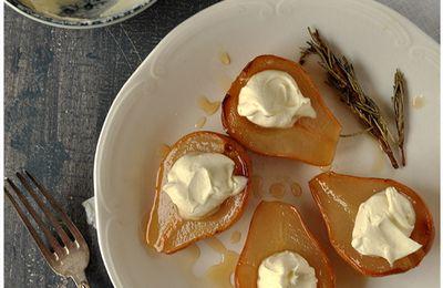 Poires rôties au romarin, mascarpone vanillé