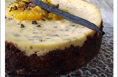 Cheesecake à l'orange, Grand Marnier et pépites de chocolat
