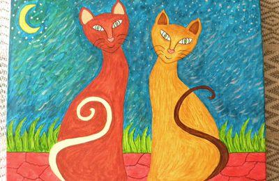 """Tableau """"chats au clair de lune"""".."""