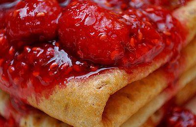 Crêpes soufflées et marmelade framboises