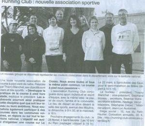 Ouest France 13/02/09 Running Club : Nouvelle association sportive