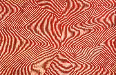 Focus sur une oeuvre présentée au Parcours des Mondes 2013 du peintre aborigène Warlimpirrnga TJAPALTJARRI, Kiwirrkura-Papunya, Australie