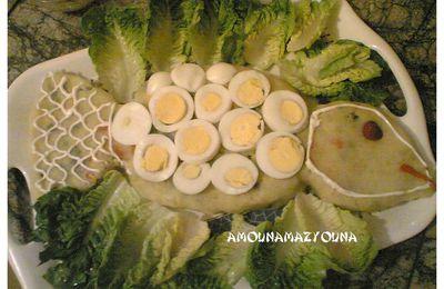 Salade de légumes sous forme de poisson