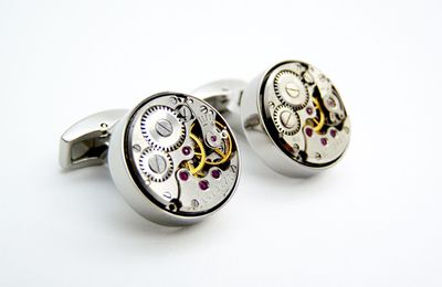 Boutons de manchettes mécanismes de montres / Watch Movement Cufflinks - Ex Machina 17 Silver