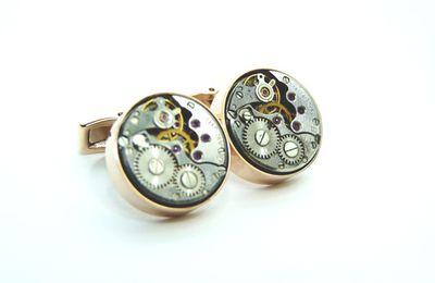 Boutons de manchettes mécanismes de montres / Watch movements cufflinks - Ex Machina#17 Pink Gold