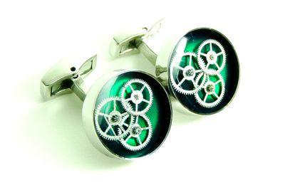 Boutons de manchettes mécanique inclusion / inclusion gears cufflinks - Emeraude