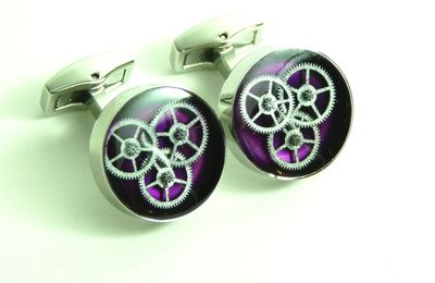 Boutons de manchettes mécanique inclusion / inclusion gears cufflinks - Rubis