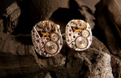 Boutons de manchettes mécanismes de montres/ Watch Movement Cufflinks - Ex Machina#16 Hamilton