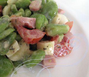 Salade de fèves aux petits oignons
