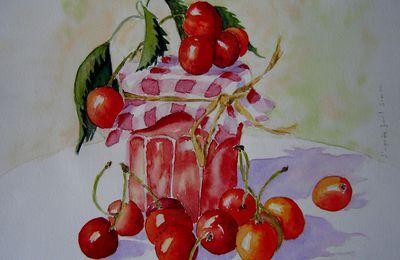 aquarelle - confiture de cerises