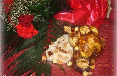 Pigeonneaux sauce chocolat au gingembre et riz basmati aux fruits secs.