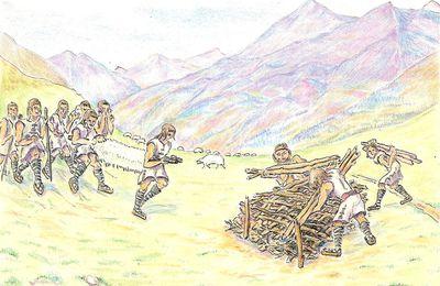 Illustration de la construction d'un tumulus cromlechs