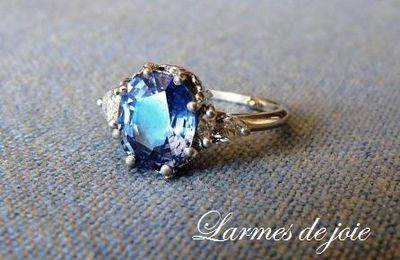 Saphir et diamants poire