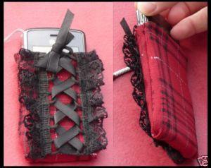 Housse à portable écossaise style gothique lolita/emo