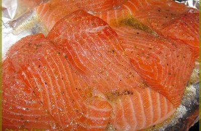 *Saumon mariné cuit au four*