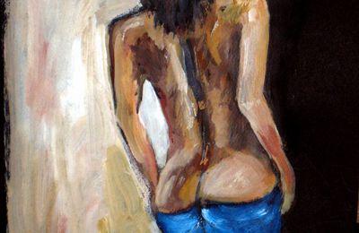 peinture acrylique nu artistique mort d'un amour
