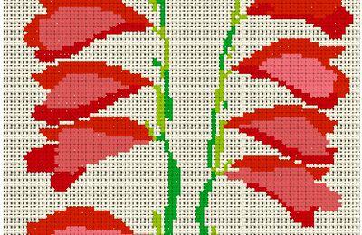 grille point de croix - fleurs clochettes rouges