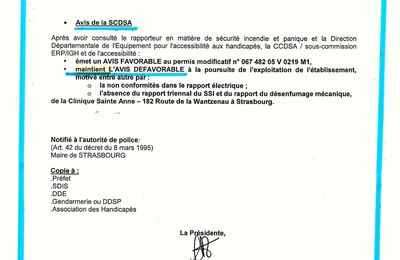 14-Que dit la Commission à la Sécurité venue à la Clinique en Septembre 2008 ?