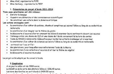 CR 2ème conseil 2011 de l'école Julliand de Houilles