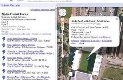 Nouvelle carte Google Maps Ligue1 Ligue 2