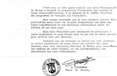 Sèvres: 1975 lettre du Maire de Sèvres au Maire de Cleveland