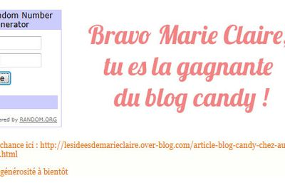 Gagnante du blog Candy