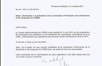 INERIS : nomination d'Ariane Vennin presidente de la CORE (Commission d'Orientation de la Recherche et de l'Expertise)