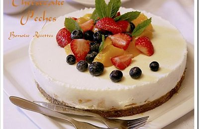 cheesecake,recette de cheesecake, cheesecake aux peches