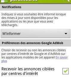 Android Market désactive les publicités ciblées