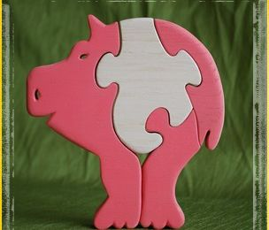 Puzzles animaux cochon rose...
