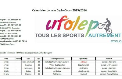 calendrier cyclo-cross - erratum
