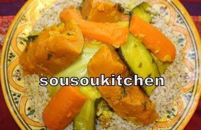 Couscous au Poulet -Blé Complet-كسكسو الاحمر Cuisine Marocaine