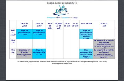 Stage Juillet & Aout