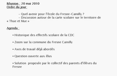 Reunion du 20 mai - Commission scolaire / parents d'élèves