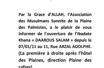 salle de priere de la Plaine des palmistes - Daarous salam