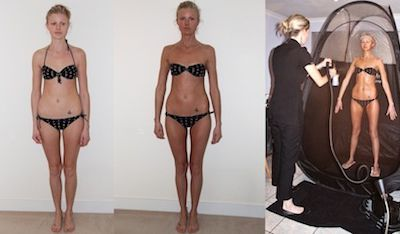 Before and after Photos of Sienna X Spray Tan.
