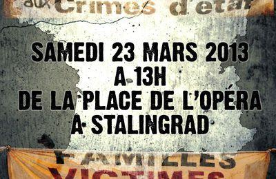 MARCHE unitaire contre les crimes policiers le 23 mars 2013 de 13h00 place de l'Opéra à 19h00 Stalingrad.
