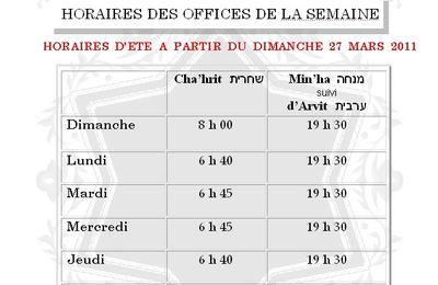 RAPPEL DES HORAIRES DES OFFICES EN SEMAINE