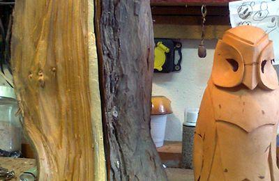 Sculpture sur bois : la chouette