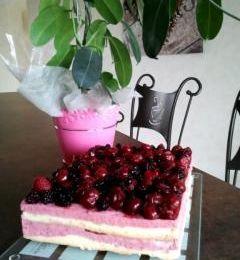 Gâteau à la mousse de framboises