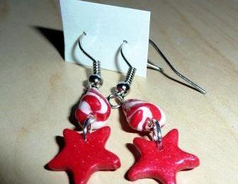 Boucles d'oreilles Rouge / Blanc