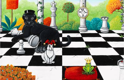 Black Magic Panther - Le jeu d'échecs 30 x 30 cm © Catherine MUSNIER