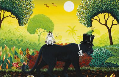 """Black Magic Panther, la promenade"" 35 x 27 cm © Catherine MUSNIER"