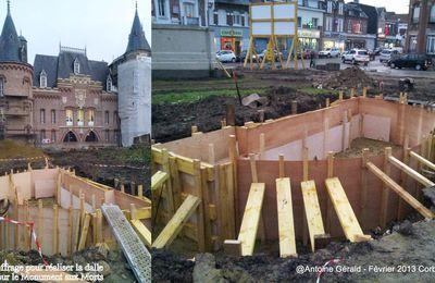 CORBIE - Rénovation : Réalisation du coffrage pour le monument aux Morts