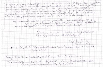 Courrier envoyé à François Hollande de devenu président de la Répubique le 6 mai 2012 concernant mon enpoisonnement au ciment