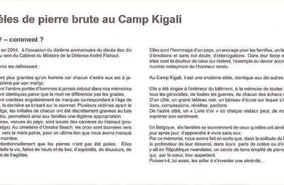 Dix stèles de pierre brute au camp Kigali ...