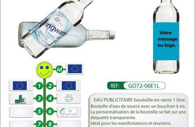 Eau publicitaire bouteille en verre 1 litre avec étiquette transparente
