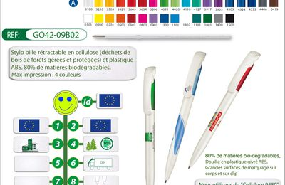 Stylo bille en cellulose de bois biodégradable - BIO LUNA