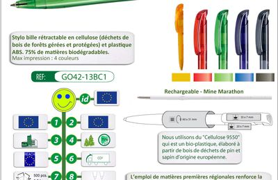 Stylo biodégradable en cellulose de bois BIO-LUNA-CLEAR