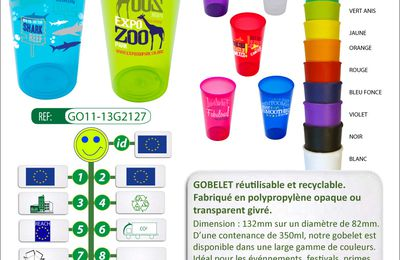 Gobelets recyclables, empilables de 350ML - GO11-13G2127